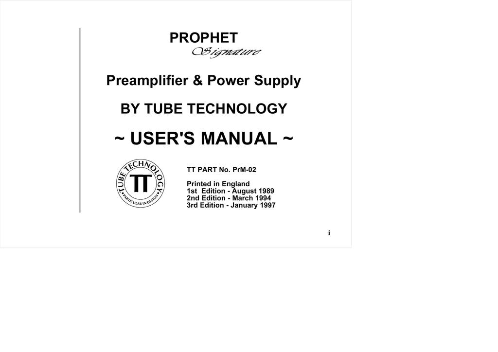prophet preamplifier manual