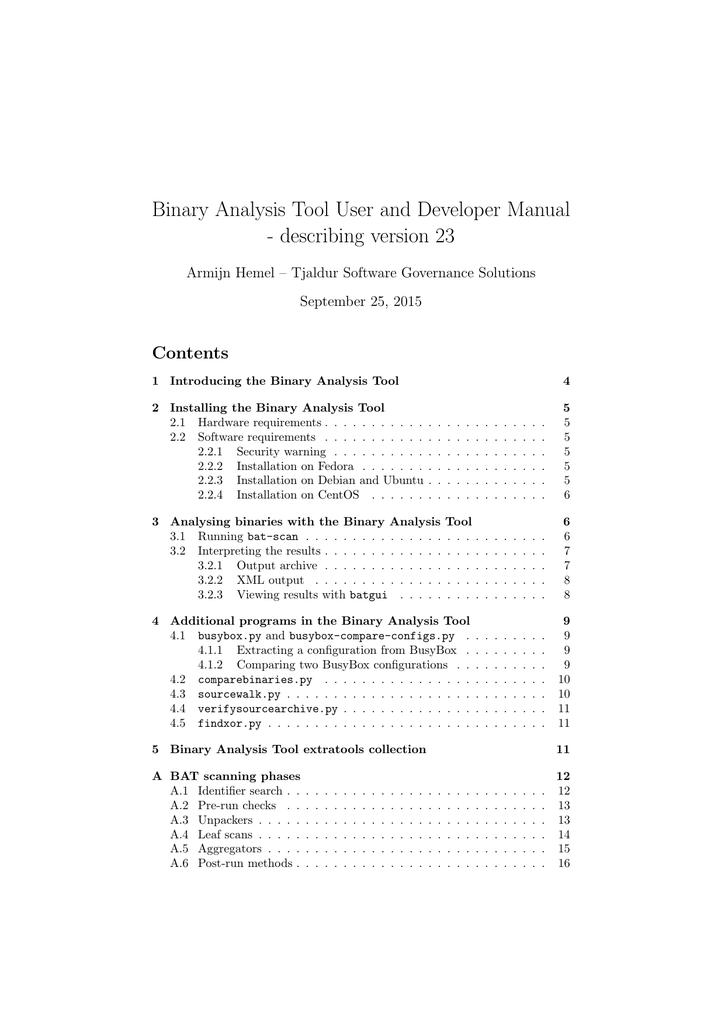 Binary Analysis Tool User and Developer Manual | manualzz com
