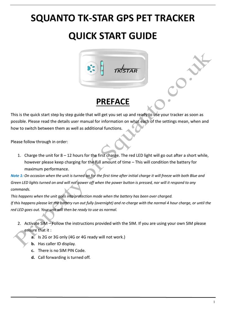 squanto tk-star gps pet tracker quick start guide preface