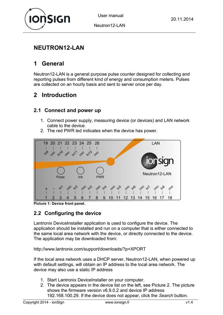 Neutron 12-LAN User manual | manualzz com