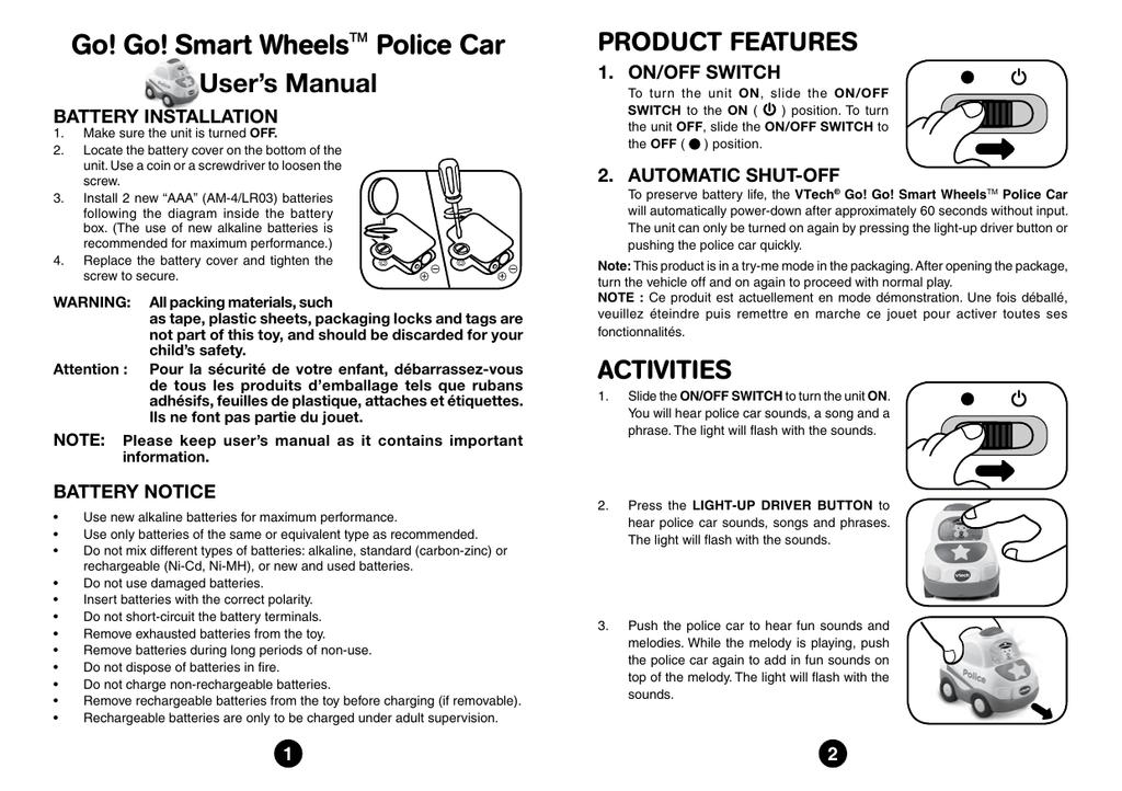 Go! Go! Smart Wheels™ Police Car   manualzz.com Aaa Battery Box Wiring Diagram on
