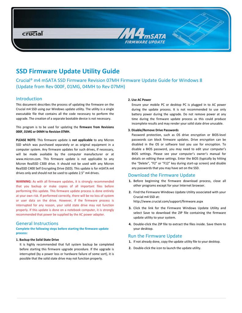 SSD Firmware Update Utility Guide | manualzz com