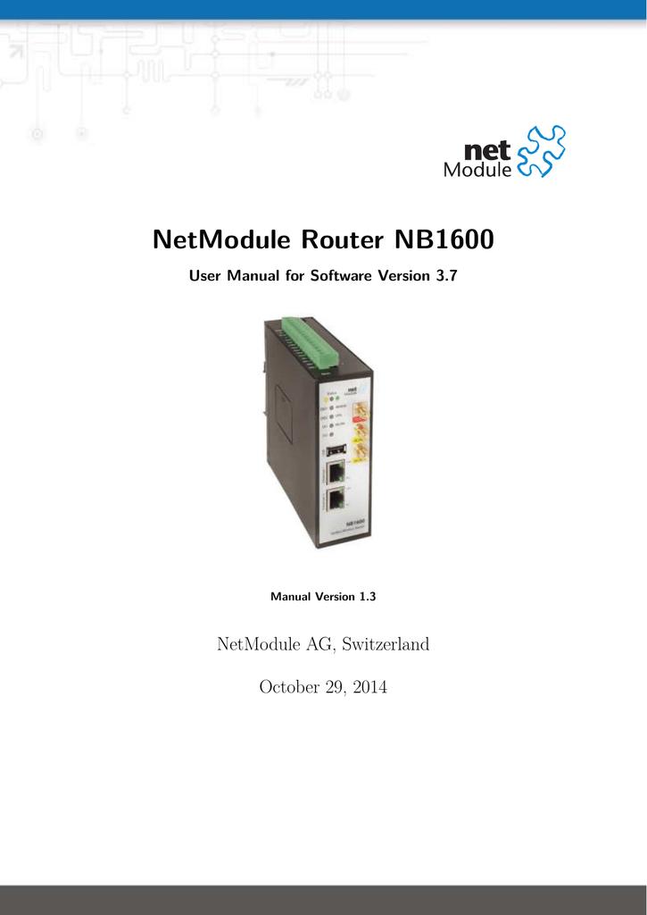 NB1600 Manual - NetModule Router Wiki | manualzz com