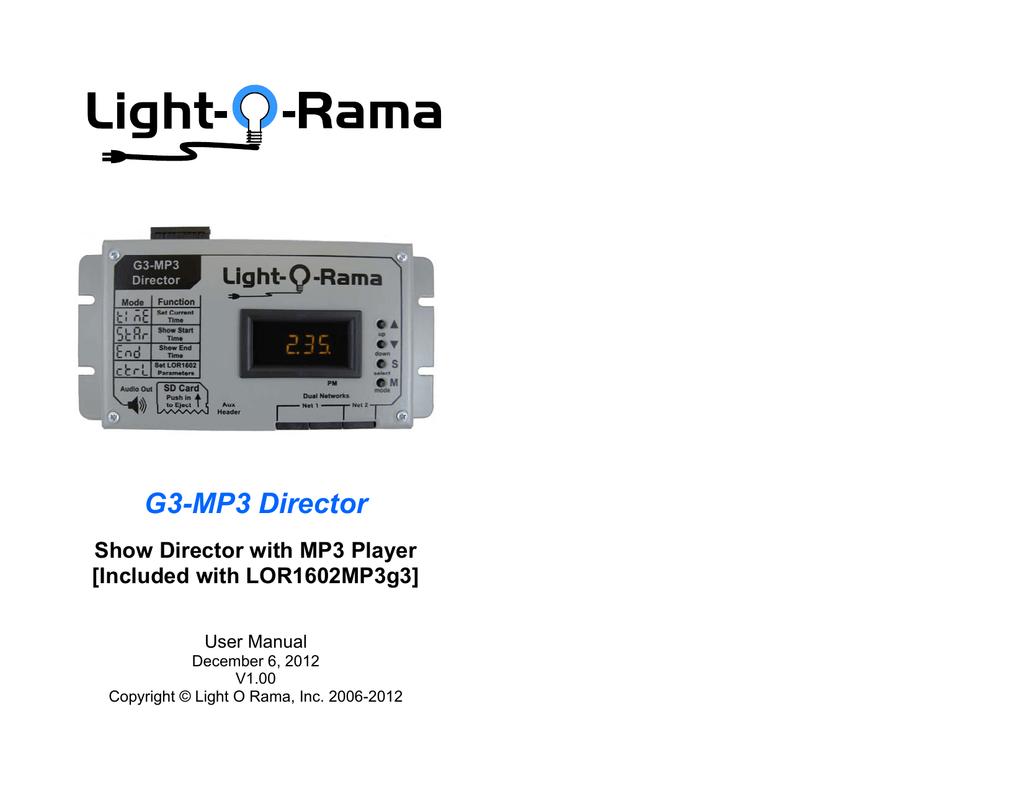 G3-MP3 Director - Light-O-Rama | manualzz com