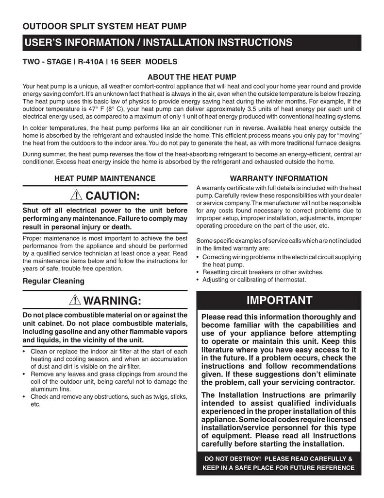 Warning Nordyne Compressor Wiring Diagram