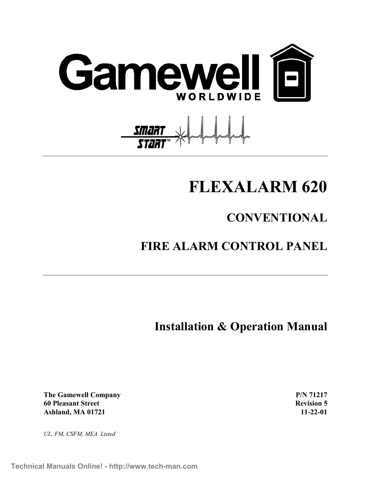 gamewell flexalarm 620 installation & user manual