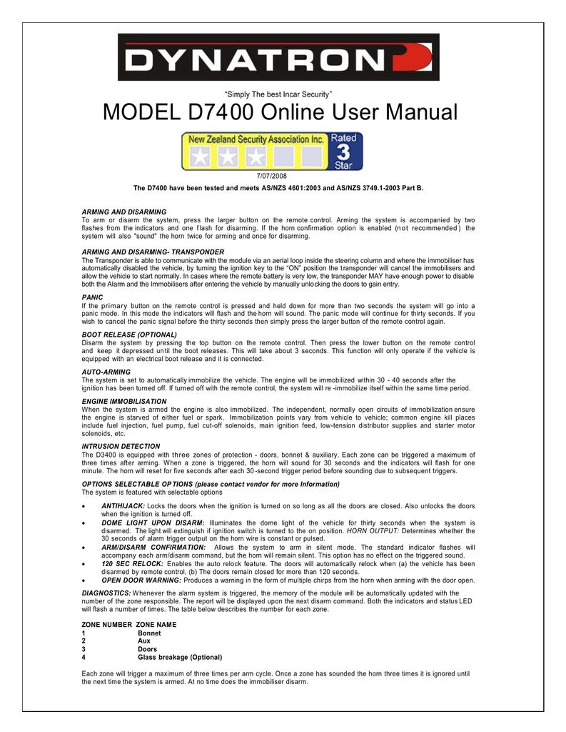 MODEL D7400 Online User Manual | manualzz com
