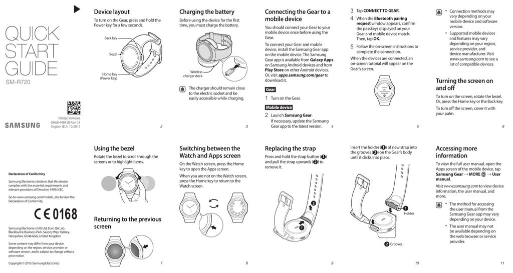 Samsung Gear S2 - Quick Start Guide | manualzz com