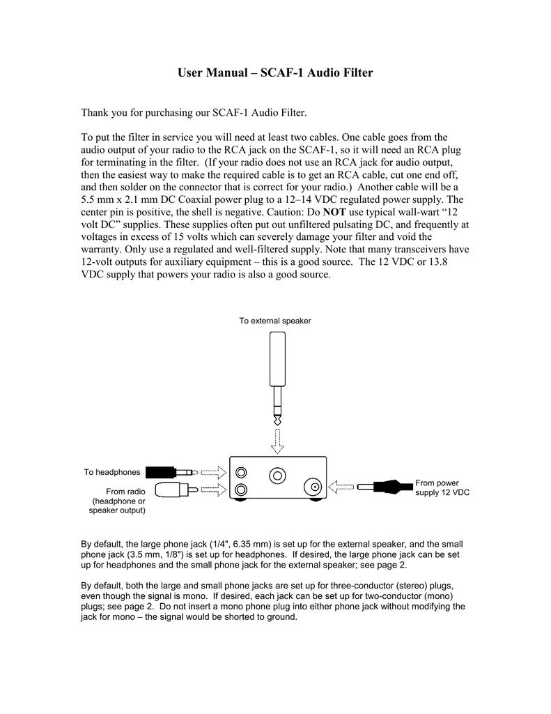 Scaf Assembled Version User Manual How To Hook Up Phone Jack