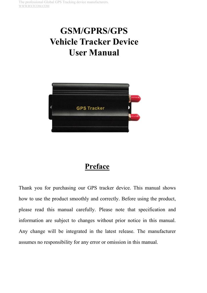 GSM/GPRS/GPS Vehicle Tracker Device User Manual   manualzz com