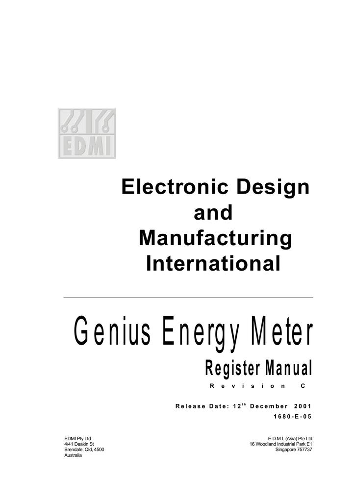 EDMI Genius Register Manual | manualzz com
