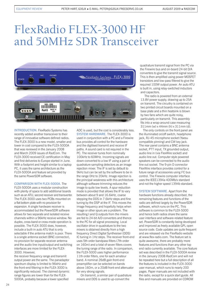 FlexRadio FLEX-3000 HF and 50MHz SDR Transceiver | manualzz com