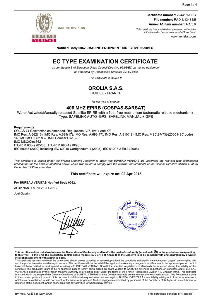 EC MED Module B Certificate