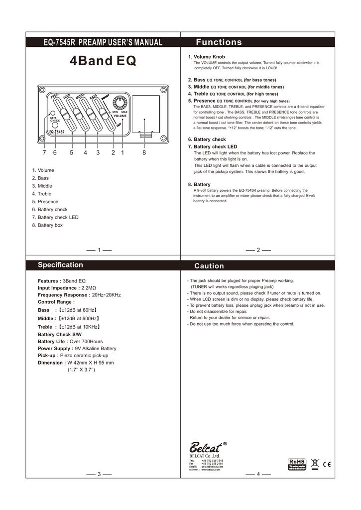 EQ-7545R PREAMP USER`S MANUAL 4Band EQ | manualzz com