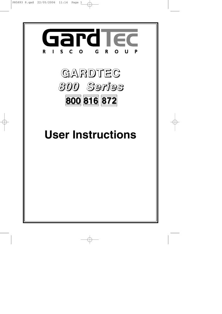 gardtec 800 user manual nss security solutions manualzz com rh manualzz com Series 800 Terminator gardtec 800 series engineer manual
