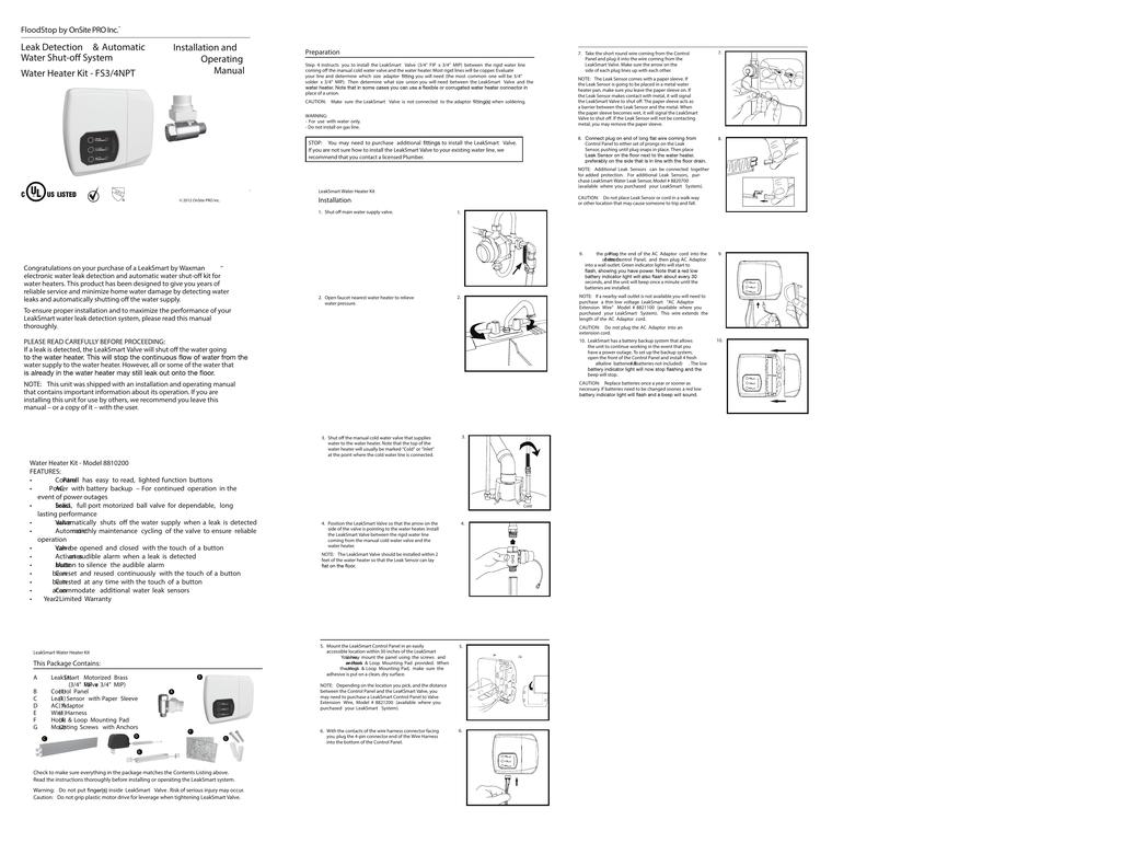 Floodstop Water Heater Manual Manualzz Com