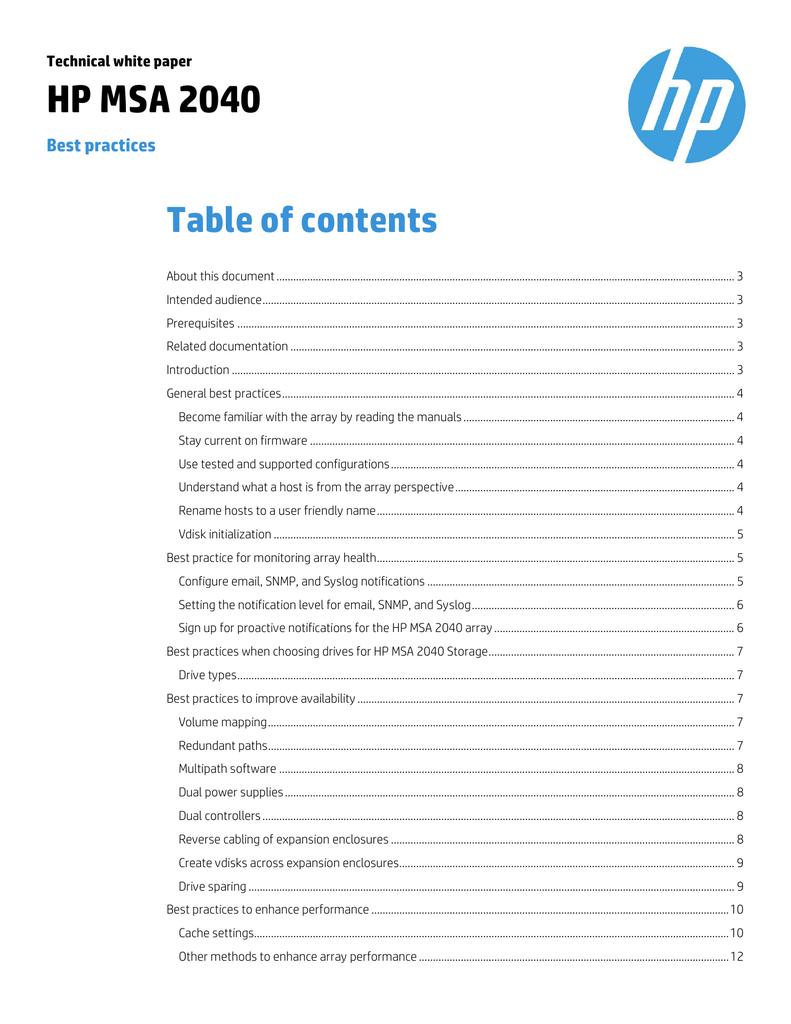 HP MSA 2040: Best practices - Hewlett Packard Enterprise