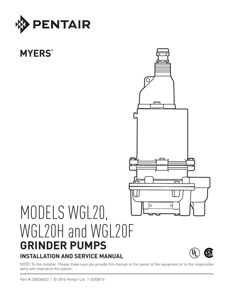 Models Wgl20 Wgl20h And Wgl20f Grinder Pump Wiring Diagram