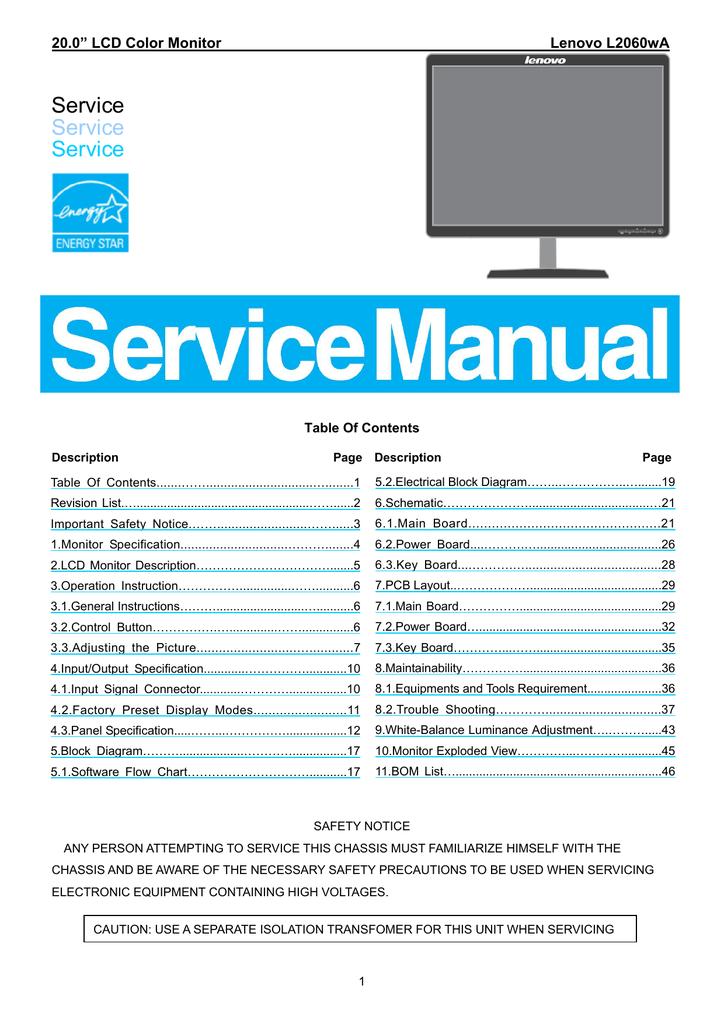 """Lenovo L2060WA  20/"""" Widescreen LCD Monitor w// VGA and power cord Grade B"""