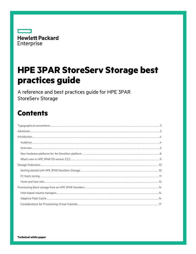 HPE 3PAR StoreServ Storage best practices guide - Hewlett