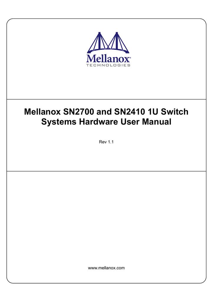 HW User Manual - Mellanox Technologies | manualzz com