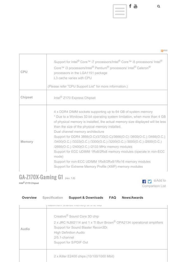 GA-Z170X-Gaming G1 (rev  1 0) | manualzz com
