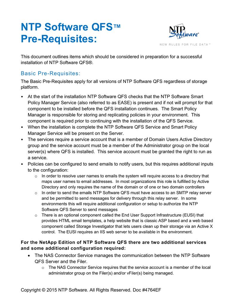 Installation Prerequisite Checklist – NTP Software