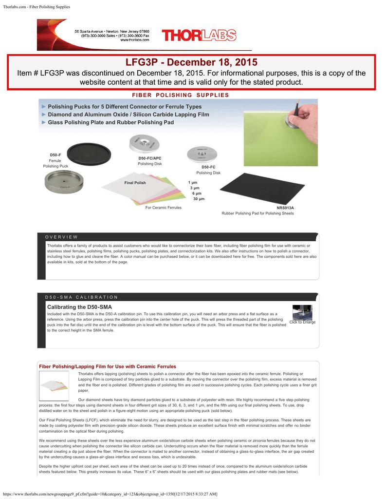 Thorlabs com - Fiber Polishing Supplies | manualzz com