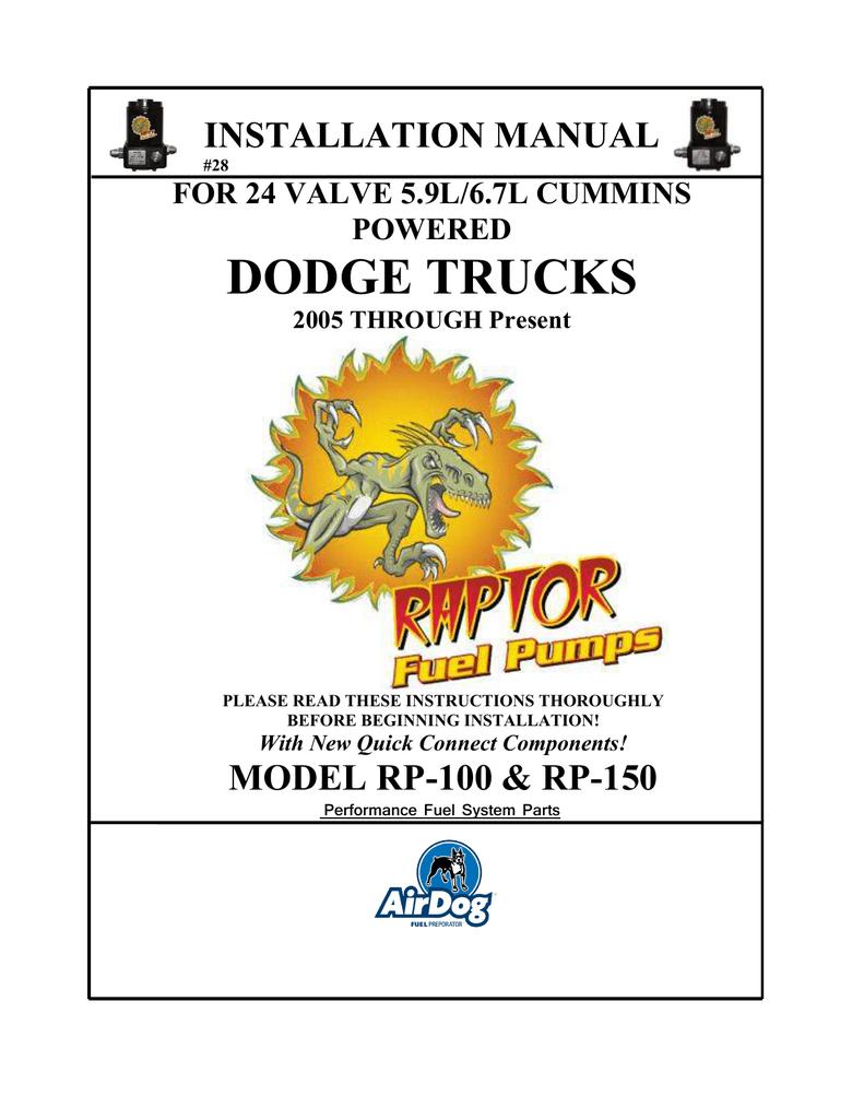 PureFlow AirDog® Raptor™ Lift Pump System | manualzz.com on