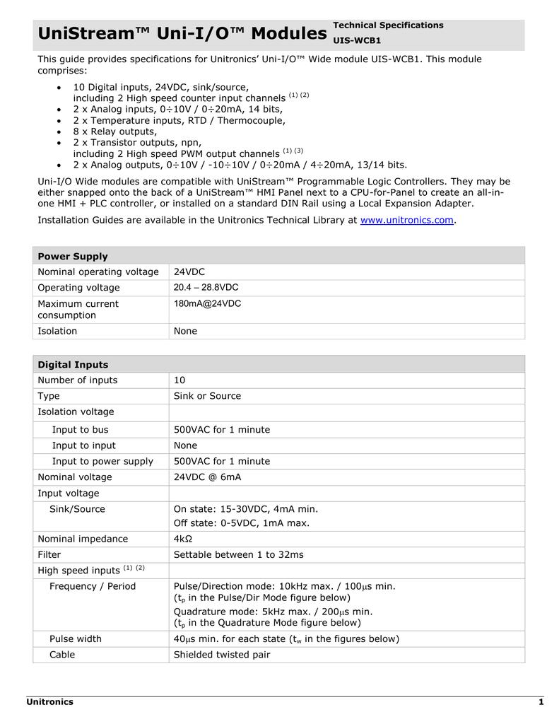 Unitronics UIS-WCB2 I//O module