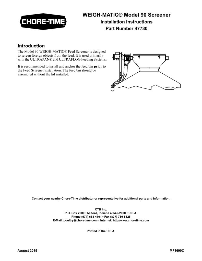 WEIGH-MATIC® Model 90 Screener - Chore | manualzz com