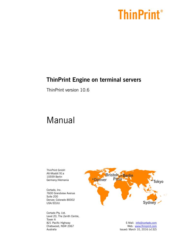 ThinPrint Engine on terminal servers (English) | manualzz com