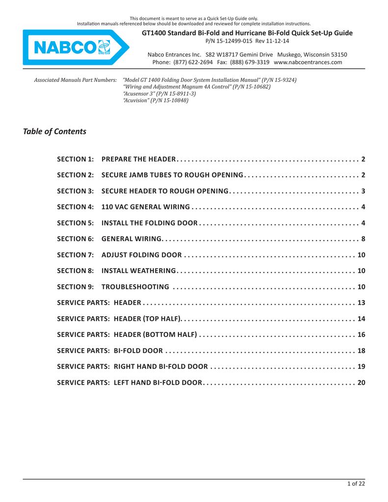 table of contents nabco entrances inc manualzz com rh manualzz com nabco gyro tech 710 installation manual North American Breaker Company Dallas