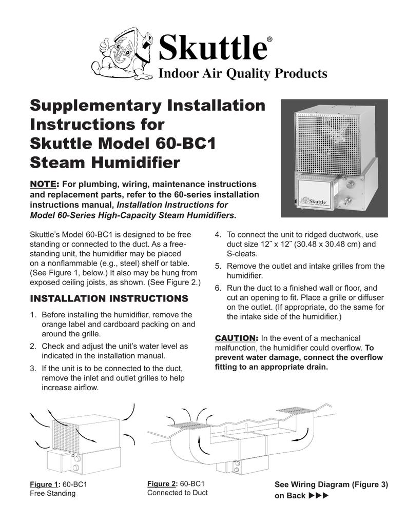 supplementary Installation Instructions for skuttle Model 60
