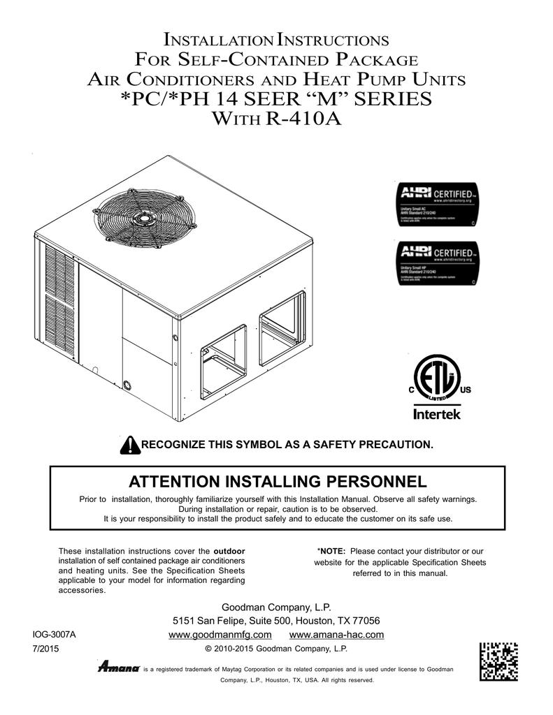 goodman heating wiring diagram free download goodman gpc14 multi position installation instructions manualzz  installation instructions