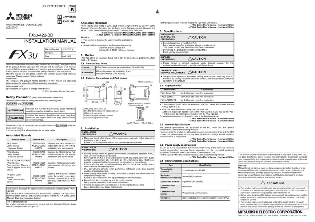 fx3u-422-bd installation manual | manualzz com