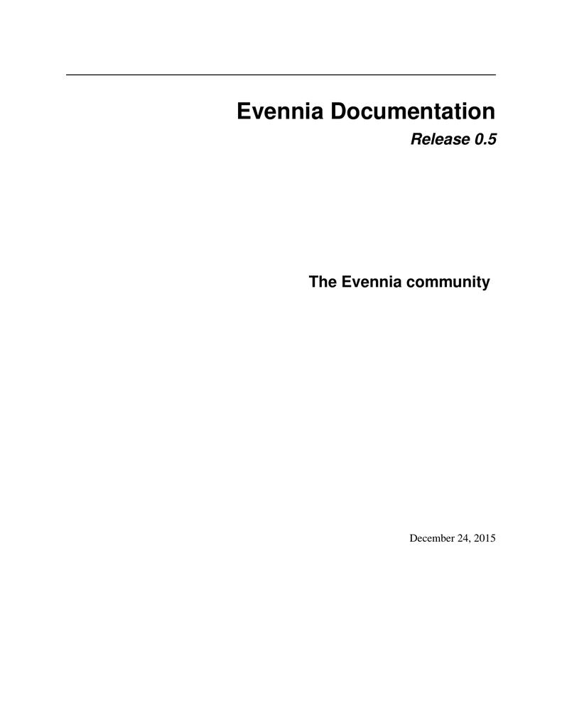 Evennia Documentation | manualzz com
