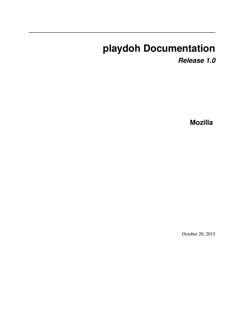 playdoh Documentation | manualzz com