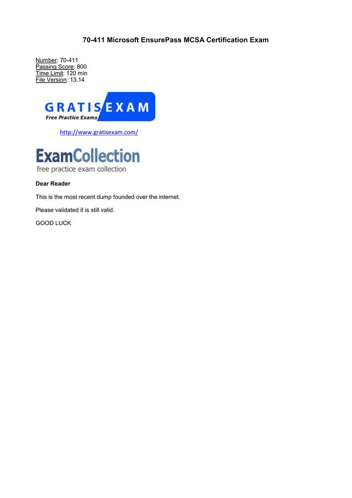 70-411 Microsoft EnsurePass MCSA Certification Exam