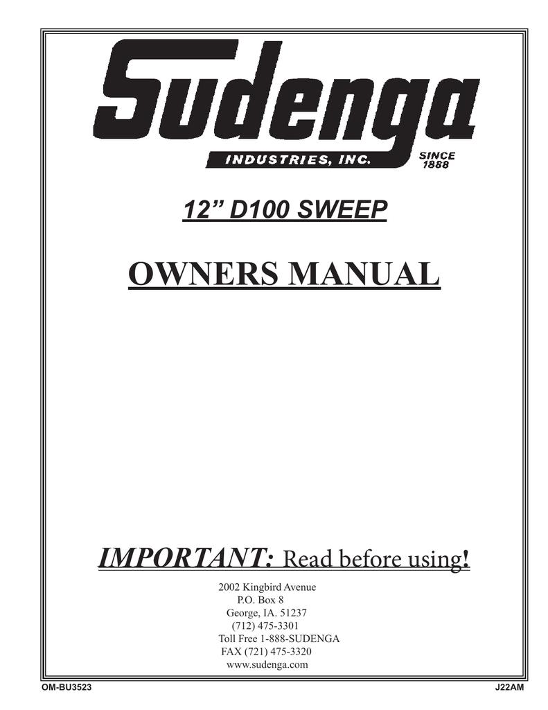 Sudenga D100 Manual - Chief Agri/Industrial | manualzz com