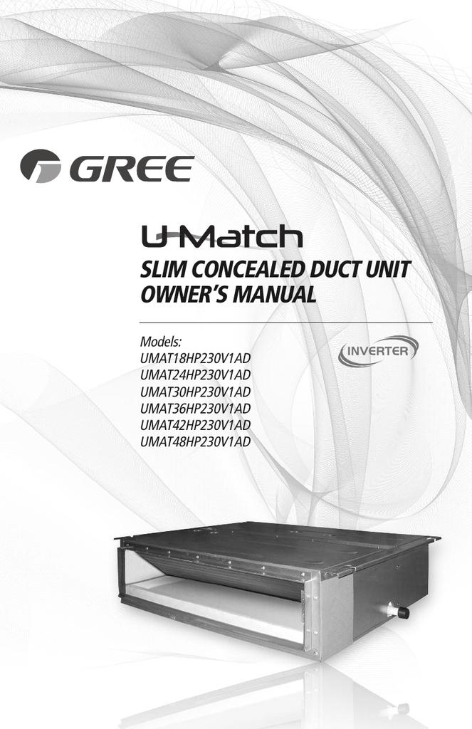 slim concealed duct unit owner`s manual | manualzz com