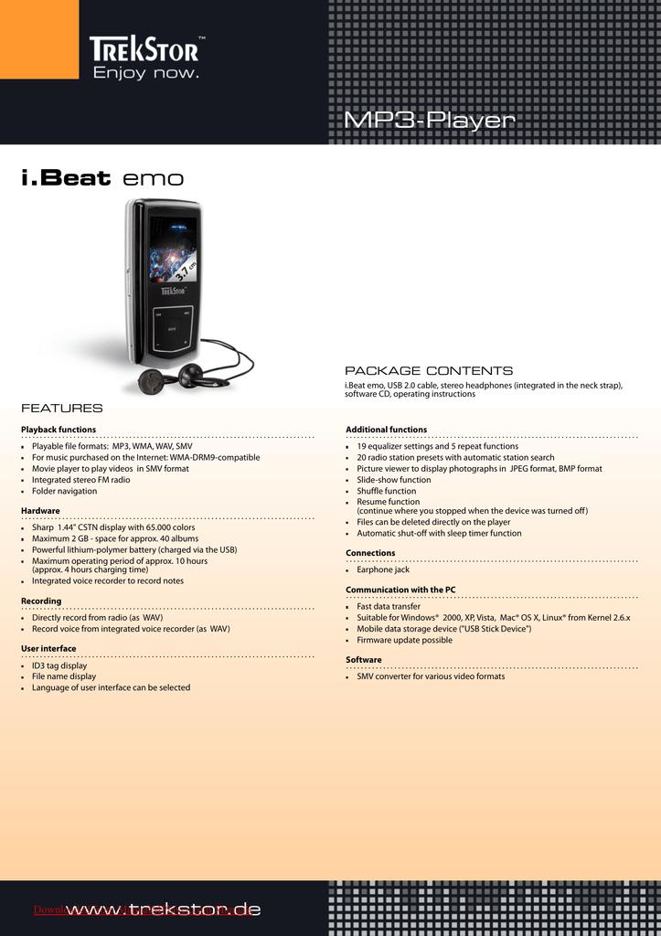 Trekstor i. Beat emo mp3 player users guide manual operating.