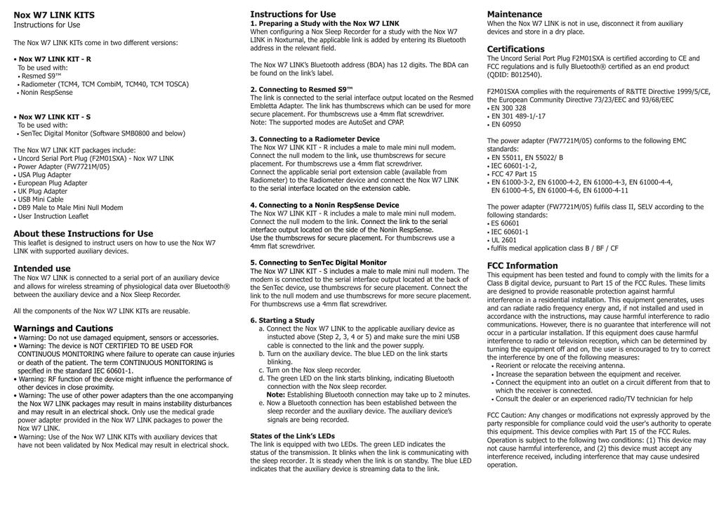 Nox W7 Link Kit - Version 0101 - English | manualzz com
