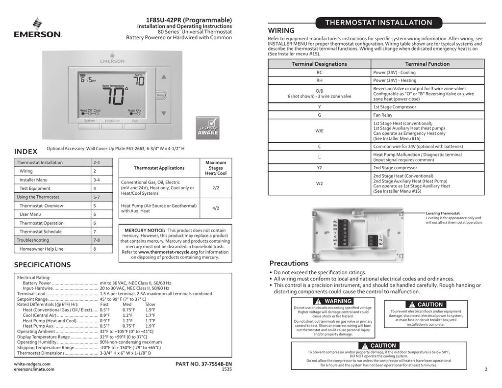 1F85U-42PR Instructions - Emerson Climate Technologies