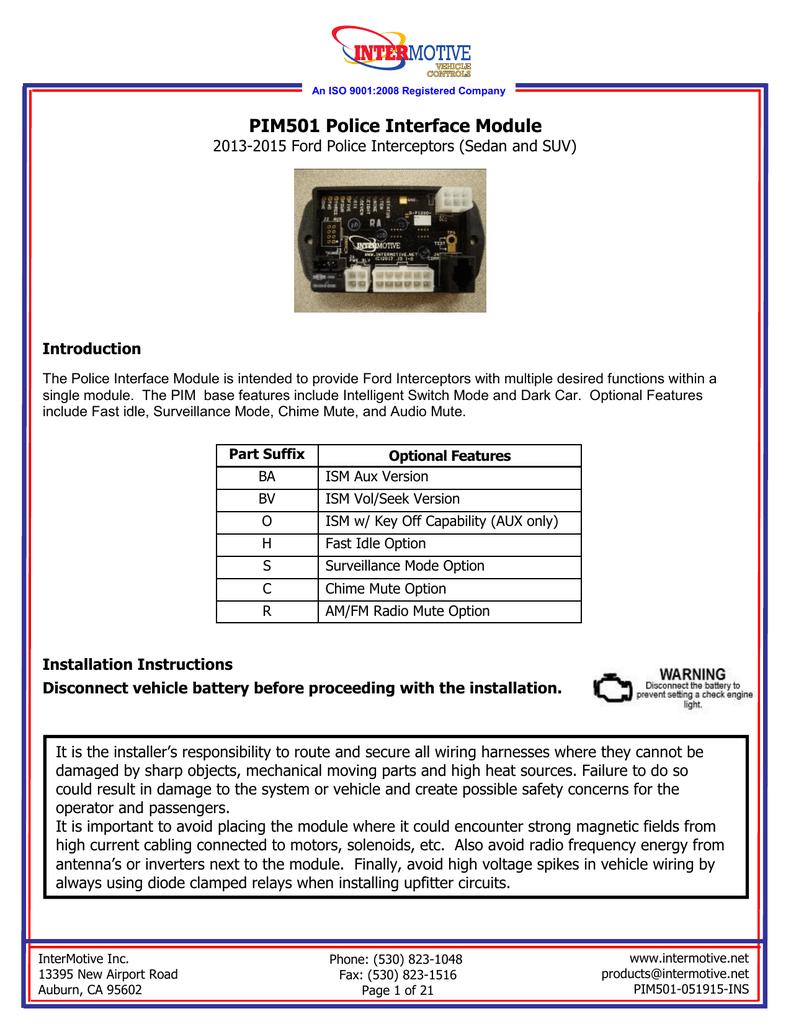 PIM501 - Intermotive | Manualzz