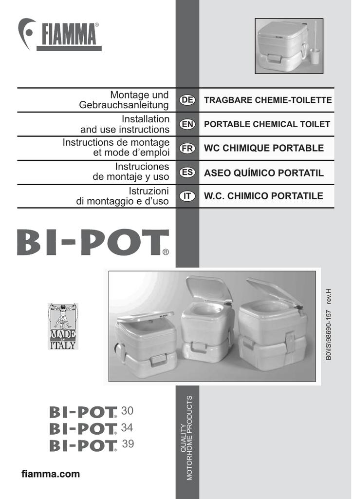Montage Wc Pot.Fiamma Bio Pot Instruction Manual Manualzz Com