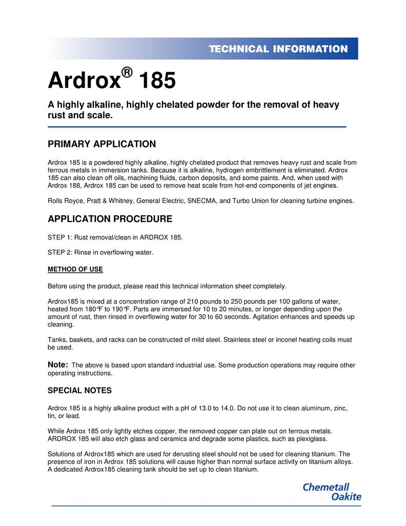 Ardrox 185 | manualzz com