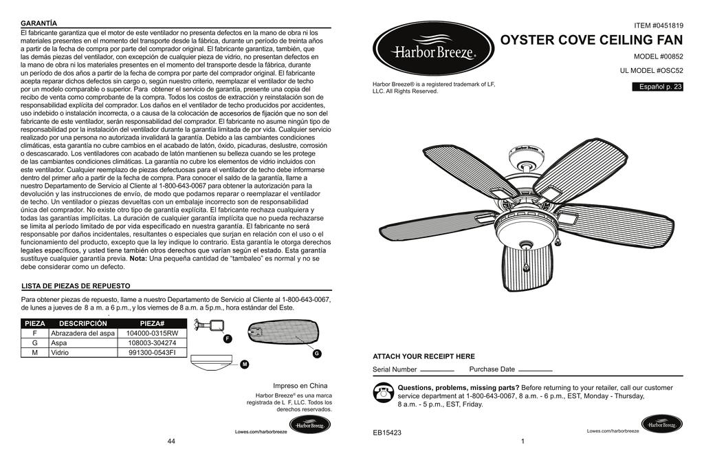 1 - pdf.lowes.com | manualzz.com Harbor Breeze Model Cc Wiring Diagram on