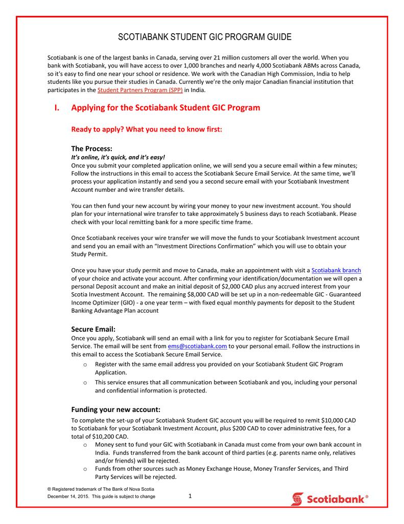 Amazing Scotiabank Student Gic Program Application Guide Manualzz Com Wiring 101 Tzicihahutechinfo