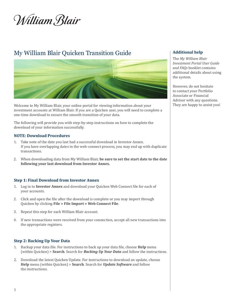 My William Blair Quicken Transition Guide | manualzz com